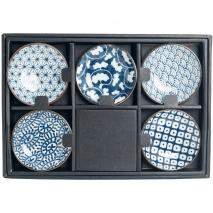 Set 5 boles japoneses motivos azules 9 cm