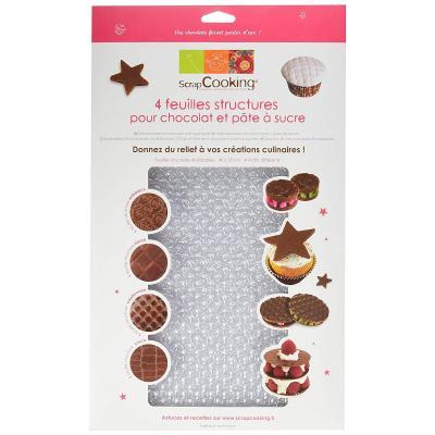 Hojas texturizadas para chocolate y fondant x4