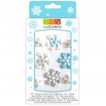 Set 8 decoraciones azúcar Copo de nieve