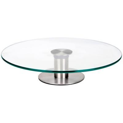 Soporte giratorio cristal 30 cm pie acero