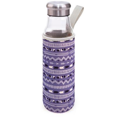 Botella cristal con funda neopreno 0,5 L lila