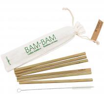 6 pajitas bambú y cepillo con bolsa algodón