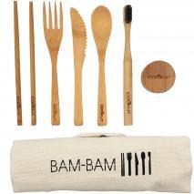 5 cubiertos bambú y cepillo dientes bolsa algodón