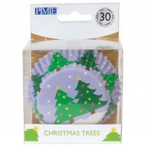 Papel cupcakes metalizados Árbol Navidad x30