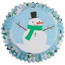 Papel cupcakes metalizados Muñeco Nieve x30