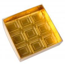 Caja para 9 bombones dorada