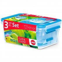 Set 3 Fiambreras Tupper rectangulares Clip & Close