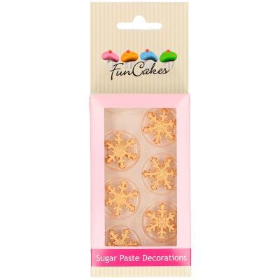 Set 6 decoraciones de azúcar Copos de nieve dorado