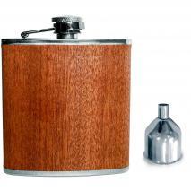 Petaca acabado madera con embudo 180 ml