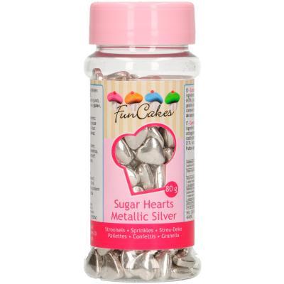 Sprinkles corazones de azucar 80g plata metalizada