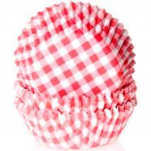 Papel cupcakes x50 Vichy rojo