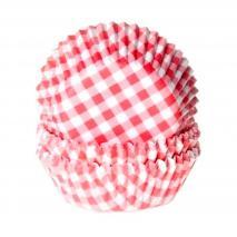 Papel  mini cupcakes Vichy rojo x60