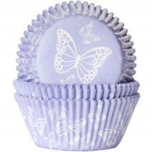 Papel cupcakes Mariposa púrpura x50