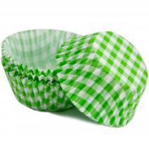 Papel cupcakes x50 Vichy verde