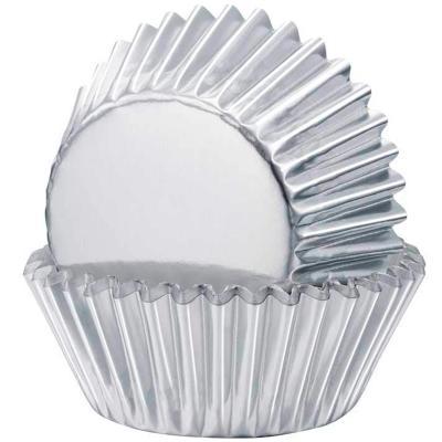 Papel cupcakes x24 metálico Plata