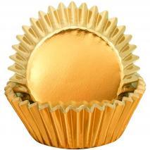 Papel cupcakes x24 metálico Oro