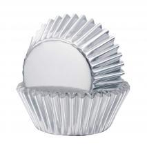 Papel mini cupcakes x36 metálico plata