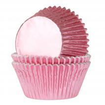 Papel mini cupcakes x36 metálico rosa