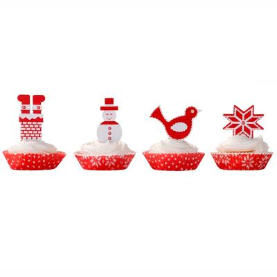 Papel cupcakes x40 y toppers x20 Knitted Noel