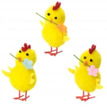 Pollito amarillo con flor Pascua 5 cm