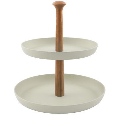Expositor 2 bandejas bambú 19-24 cm
