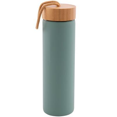 Botella cristal con banda silicona y cordón 600 ml
