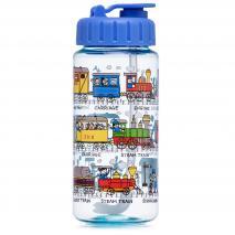 Botella agua con pajita Trenes