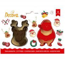 Set 2 cortadores galletas plástico Santa y Reno