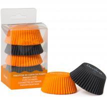 Papel cupcakes x75 Negro y Naranja