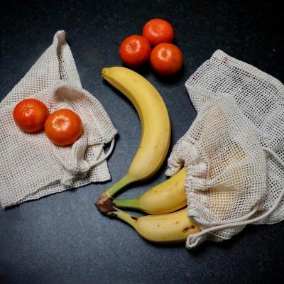 Set 3 bolsas algodón orgánico compra fruta y verd.