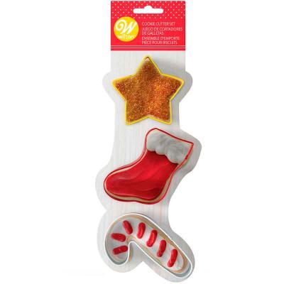 Set 3 cortadores galletas Navidad Bastón Caramelo