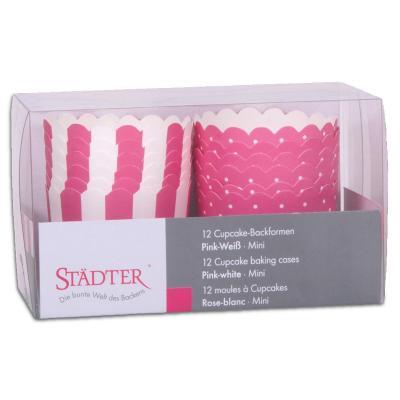 Moldes cupcakes cartón rosa x12