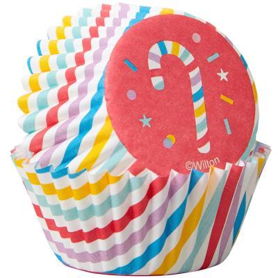 Papel mini cupcakes x100 Bastón de Caramelo