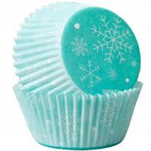 Papel cupcakes x75 Copo de nieve