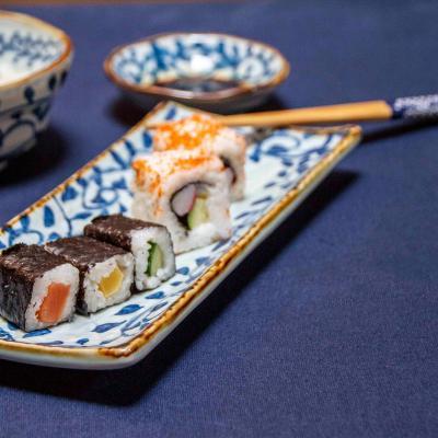 5 pares palillos japoneses motivos azules