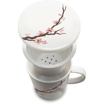 Taza de té con filtro flor Sakura