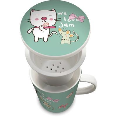 Taza de té con filtro Gato japonés