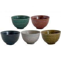 Set 5 bols japonesos Minoyaki 12 cm
