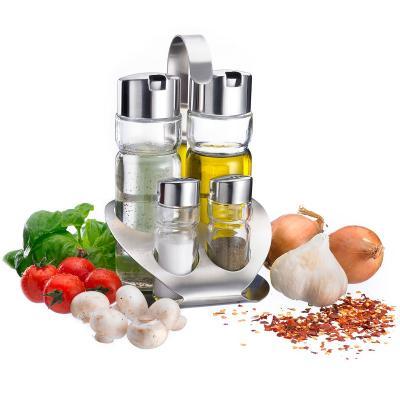 Juego aceitera, vinagre, sal y pimienta acero