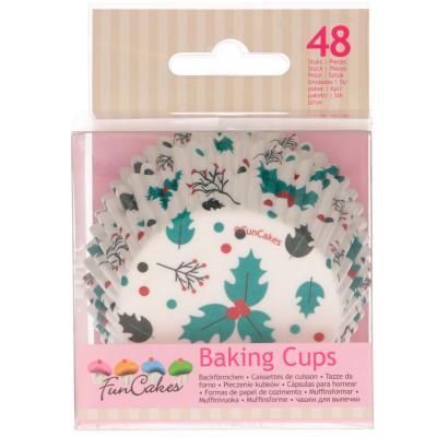 Papel cupcakes x48 Hoja de acebo
