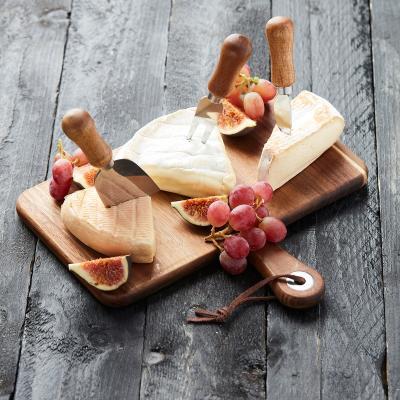 Set regalo queso tabla acacia y 3 cuchillos
