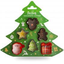 Set 6 mini cortadores galletas plástico Navidad