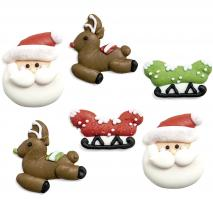 Set 6 decoracions de sucre Pare Noel