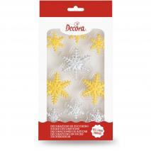 Set 9 decoraciones de azúcar Copos Nieve oro-plata
