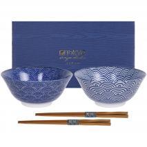 Set japonès Nippon blue 2 bols tayo i bastonets