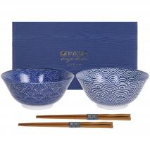 Set japonés Nippon blue 2 boles tayo y palillos