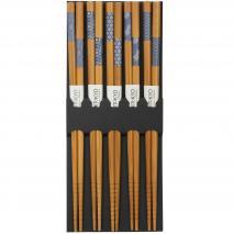 5 pares palillos japoneses nippon blue