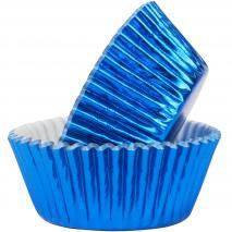 Papel cupcakes metalizados x30 azul