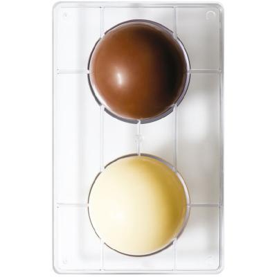 Molde policarbonato chocolate semiesfera x2 10 cm