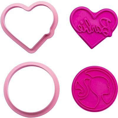 Set 2 cortador-marcador galletas plástico Barbie